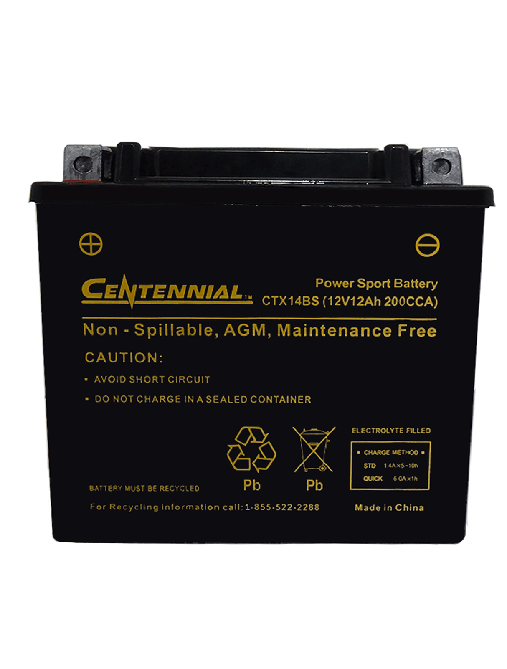ab207f38 Centennial CTX14BS Powersports Battery (YTX14-BS,CTX14-BS)
